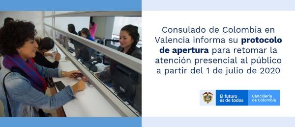Consulado de Colombia en Valencia informa su protocolo de apertura para retomar la atención presencial al público