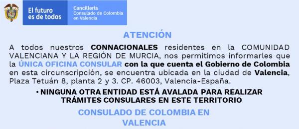 Consulado de Colombia informa que