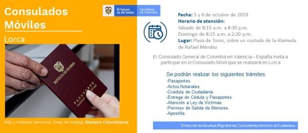 Consulado de Colombia en Valencia invita a los connacionales a la jornada de Consulado Móvil que realizará en Lorca los días 5 y 6 de octubre de 2019