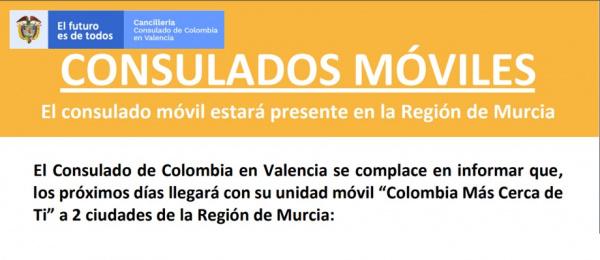 """Consulado de Colombia en Valencia llegará con su unidad móvil """"Colombia Más Cerca de Ti"""" a la Región de Murcia en octubre"""