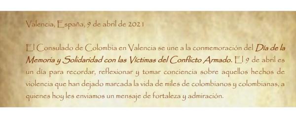 Consulado de Colombia en Valencia se une a la conmemoración del Día de la Memoria y Solidaridad con las Víctimas del Conflicto