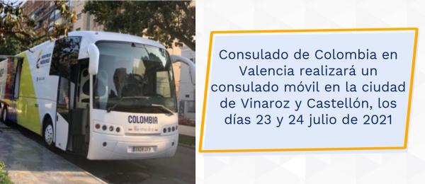 Consulado de Colombia en Valencia realizará un consulado móvil en las ciudades de Vinaroz y Castellón, los días 23 y 24 julio de 2021