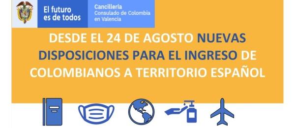 Desde el 24 de agosto nuevas disposiciones para el ingreso de colombianos a España