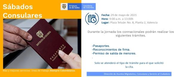 El Consulado de Colombia en Valencia invita al Sábado Consular del 29 de mayo