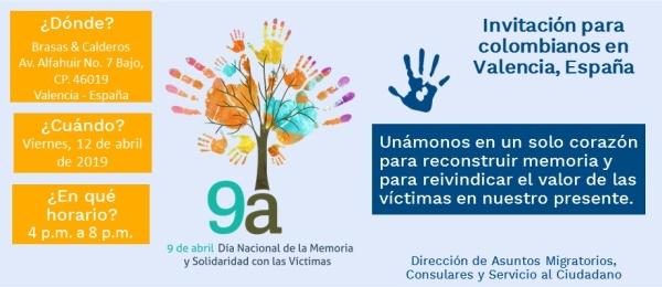 El Consulado de Colombia en Valencia se une a la conmemoración del Día Nacional de la Memoria y Solidaridad con las Victimas del Conflicto Armado en 2019