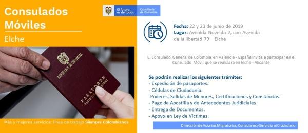 Jornada móvil en Elche, el 22 y 23 de junio, organizada por el Consulado de Colombia