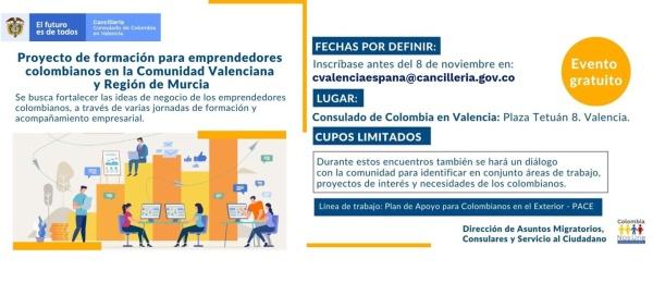 Consulado de Colombia invita a participar del Proyecto de Formación para Emprendedores colombianos en la Comunidad Valenciana y Región de Murcia