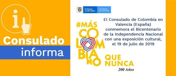 El Consulado de Colombia en Valencia (España) conmemora el Bicentenario de la Independencia Nacional con una exposición cultural, el 19 de julio de 2019