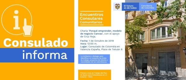 El Consulado de Colombia en Valencia (España) invita a una charla sobre el modelo de negocios Canvas, el 1 de octubre de 2019