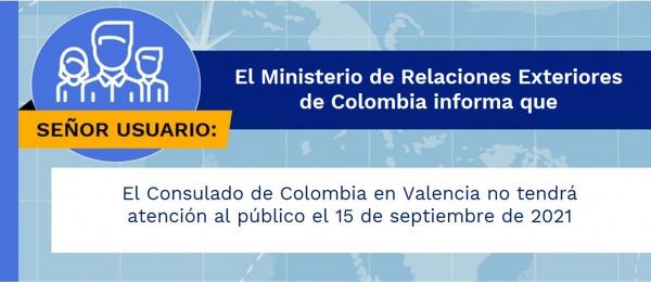 El Consulado de Colombia en Valencia no tendrá atención al público el 15 de septiembre de 2021