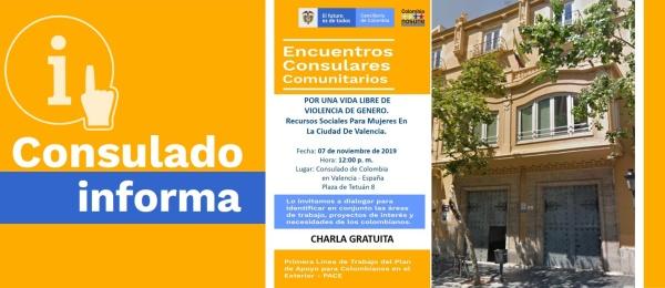 El Consulado de Colombia en Valencia abordará la violencia de género en su Encuentro Consular Comunitario el jueves 7 de noviembre de 2019
